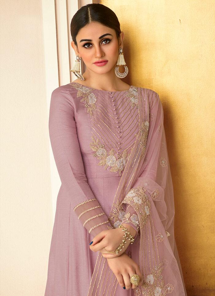 Light Purple Embroidered Pant Style Anarkali